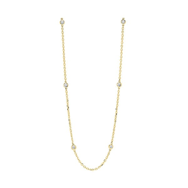 Diamond Station Necklace In 14k Yellow Gold (1/2 Ctw)
