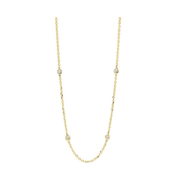 Diamond Station Necklace In 14k Yellow Gold (2 Ctw)