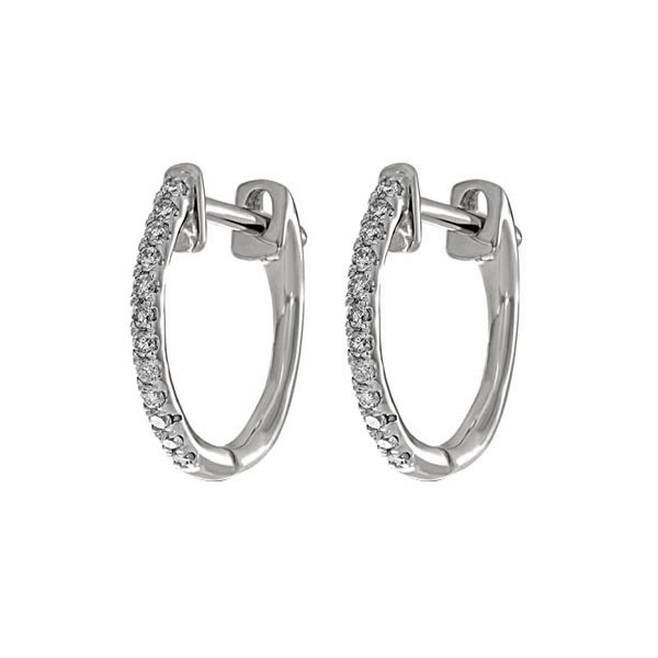 Diamond Hoops In 10K White Gold (1/10 Ct. Tw.)
