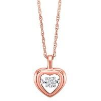 Diamond Heart Pendant In 10K Rose Gold