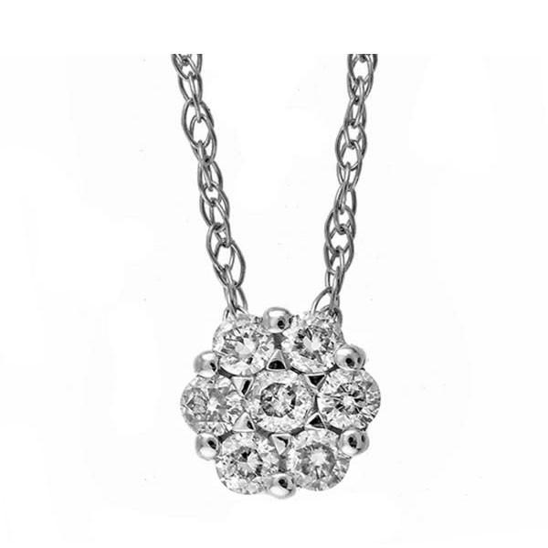 Round Diamond Pendant In 14K White Gold (1/10 Ctw)