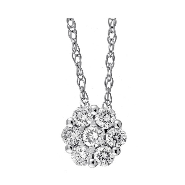 Round Diamond Pendant In 14K White Gold (1/7 Ctw)