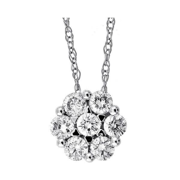 Round Diamond Pendant In 14K White Gold (1/3 Ctw)