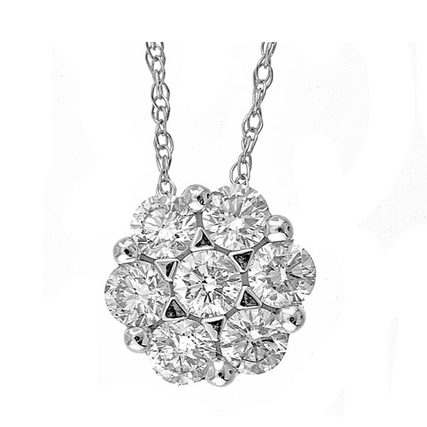 Round Diamond Pendant In 14K White Gold (1/2 Ctw)