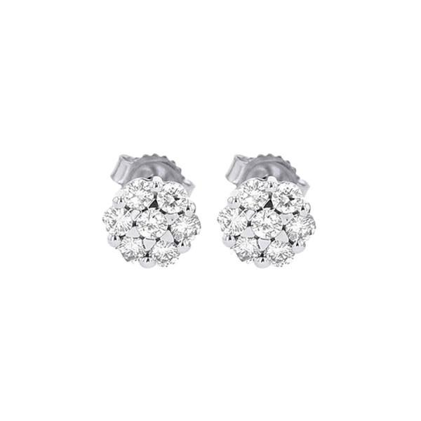 Diamond Cluster Earrings In 14K White Gold (1/7 Ctw)