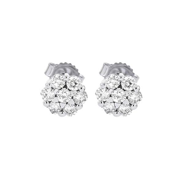 Diamond Cluster Earrings In 14K White Gold (1/4 Ctw)