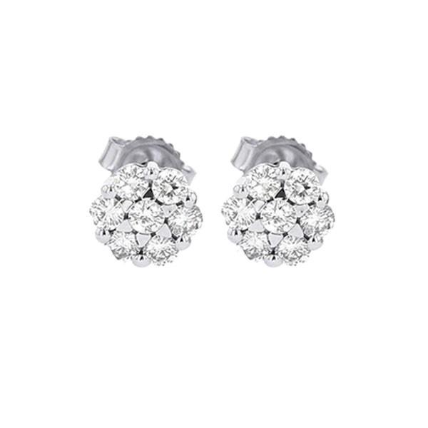 Diamond Cluster Earrings In 14K White Gold (1/3 Ctw)