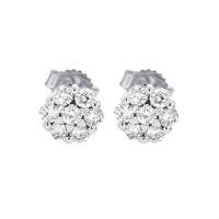Diamond Cluster Earrings In 14K White Gold (1/2 Ctw)