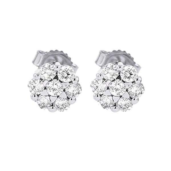 Diamond Cluster Earrings In 14K White Gold (3/4 Ctw)