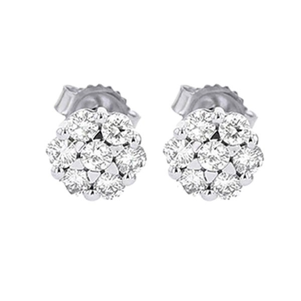 Diamond Cluster Earrings In 14K White Gold (1 Ctw)