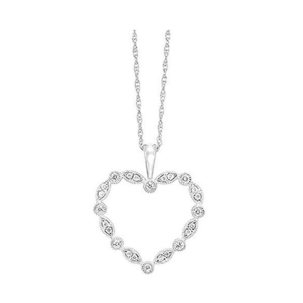 Diamond Delicate Heart Halo Wreath Pendant In 14k White Gold
