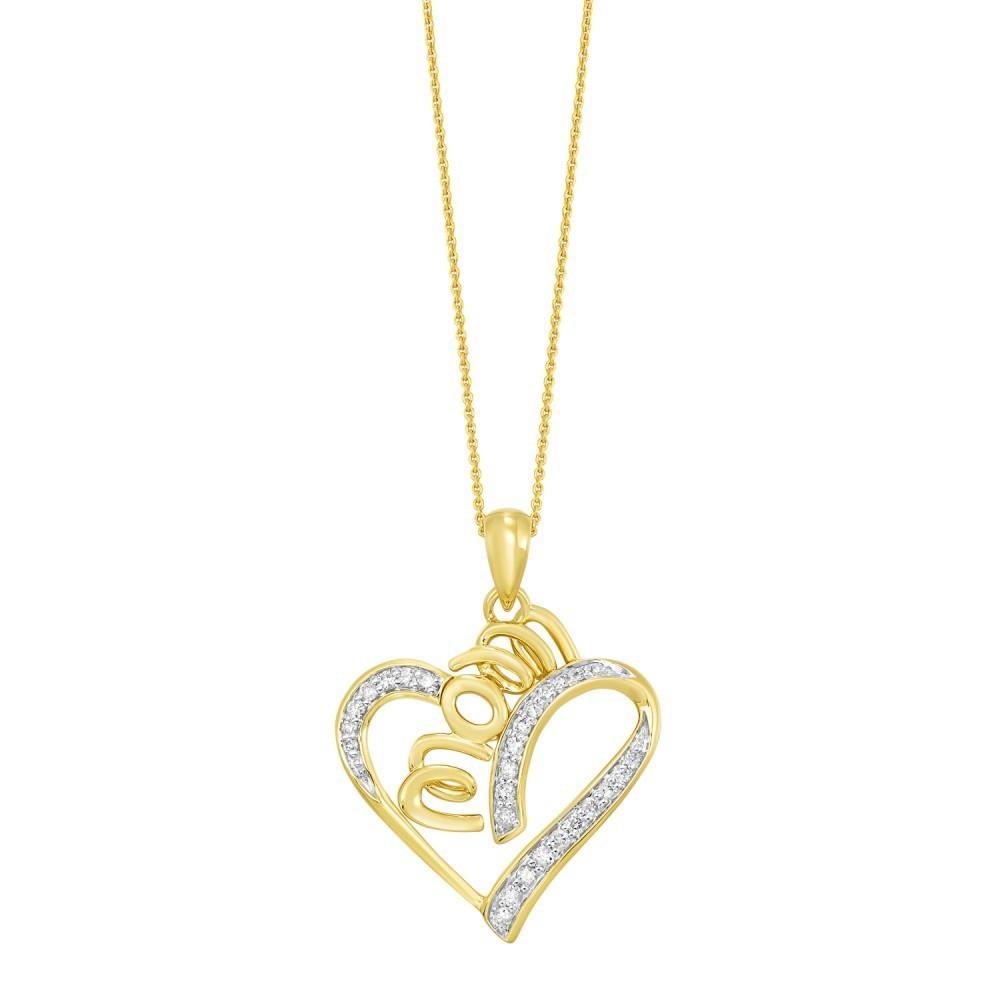Diamond MOM Swirling Ribbon Heart Halo Pendant In 10k Yellow Gold & Sterling Silver