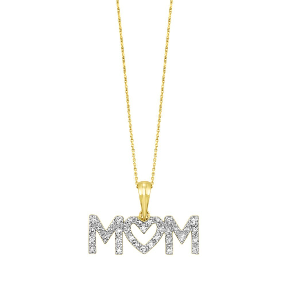 Diamond MOM ID Pendant In Yellow Sterling Silver