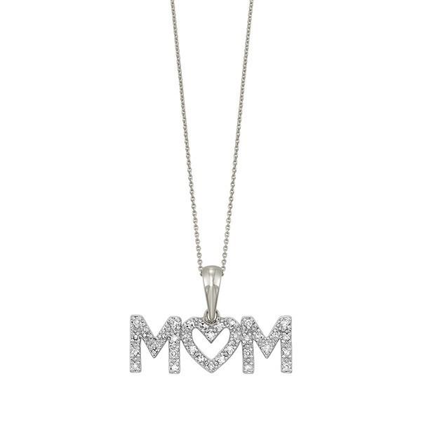 Diamond MOM ID Pendant In 10K White Gold