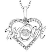 Diamond Rhythm Of Love MOM Ribbon Pendant In Sterling Silver