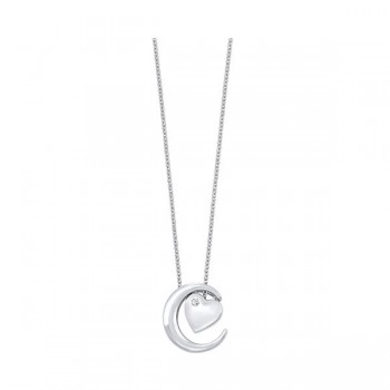 Cubic Zirconia I Love You To The Moon & Back Heart Luna Moon Pendant In Sterling Silver