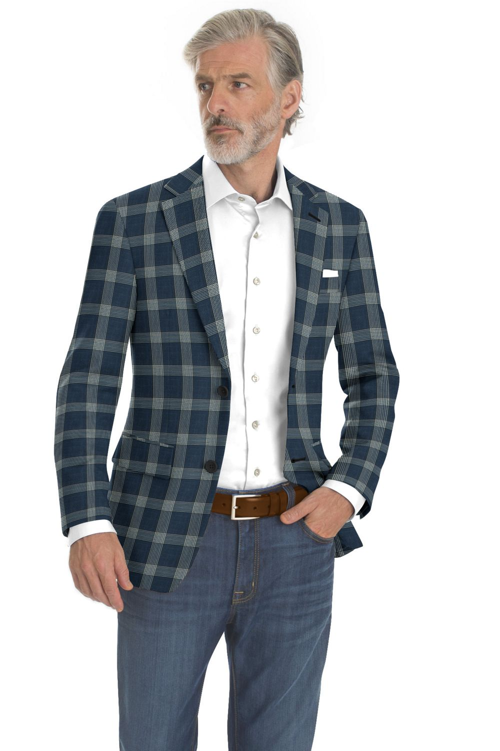 Navy Blue Grey Plaid
