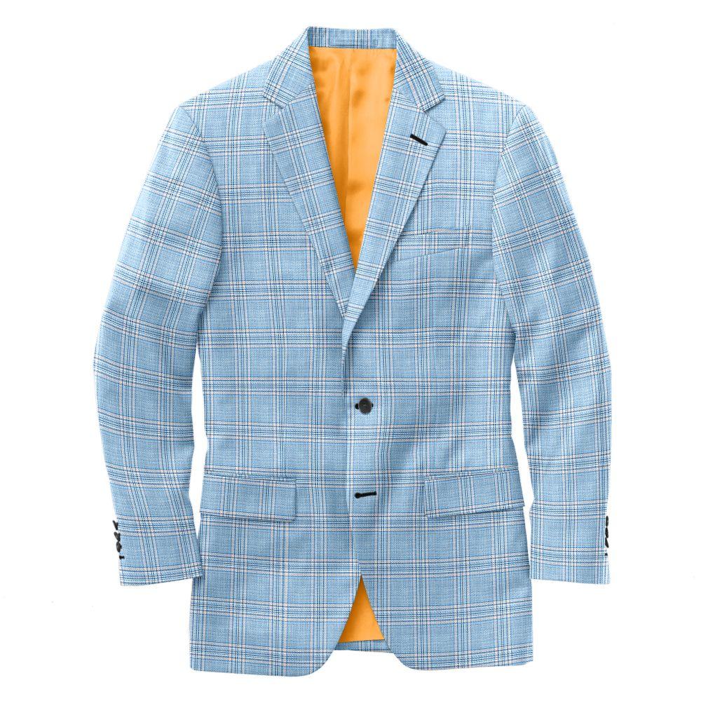 Light Blue Orange Check