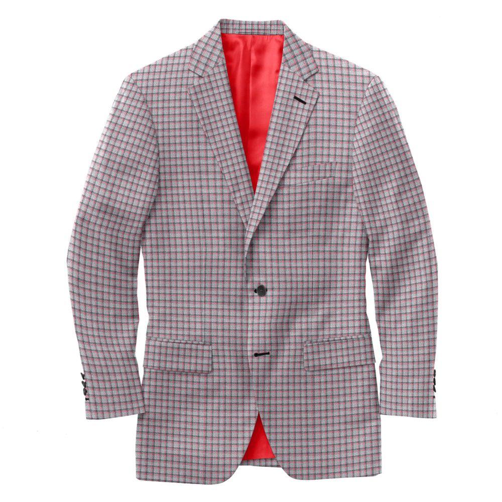 Grey Red Check