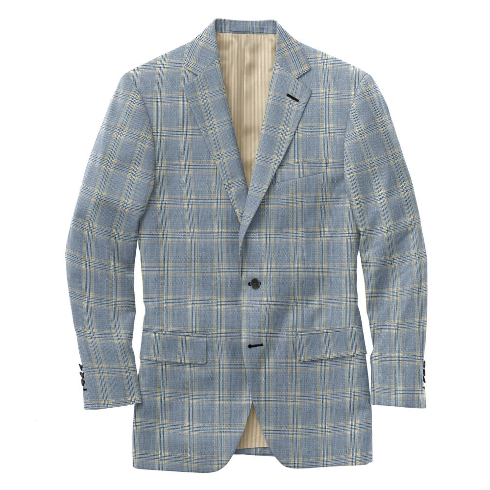 Blue Ochre Windowpane Plaid