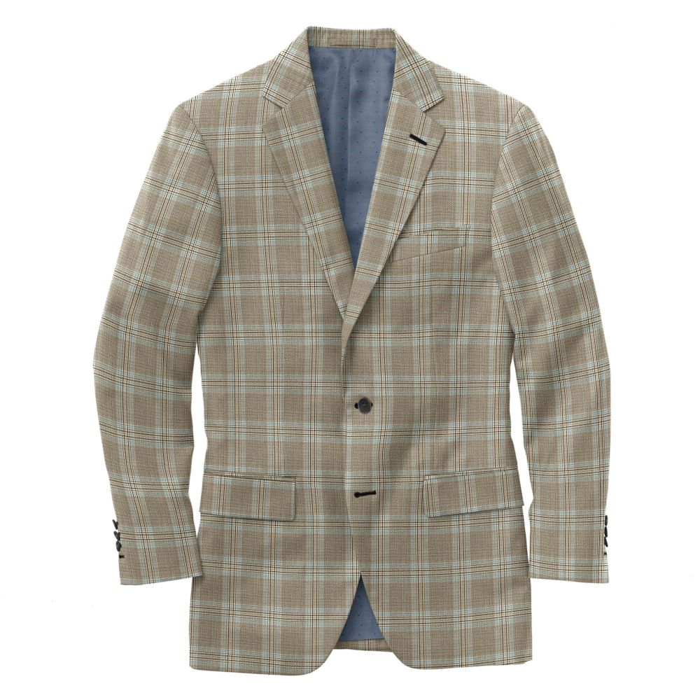 Bark Sky Blue Windowpane Plaid