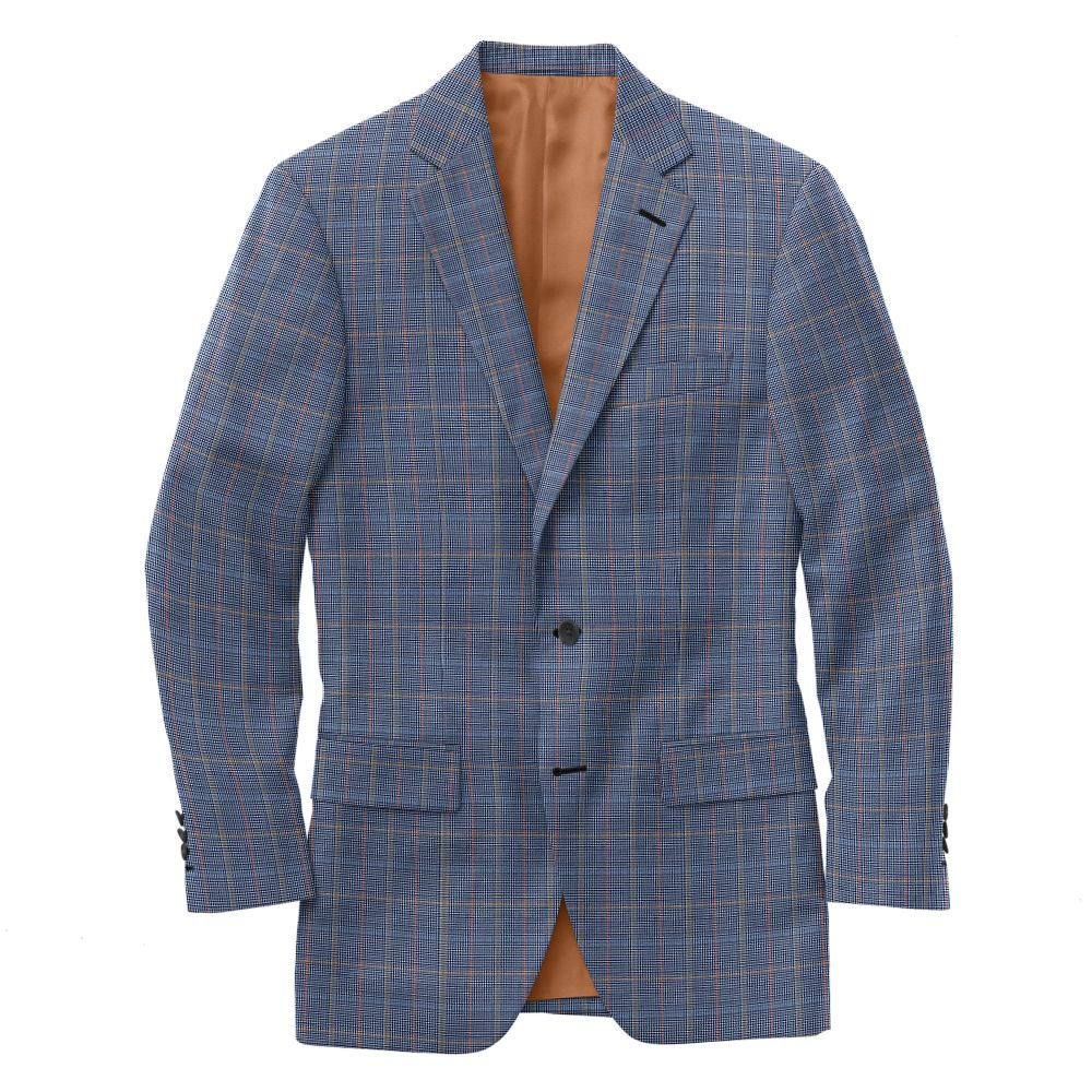 Sky Blue Red Gold Houndstooth Check