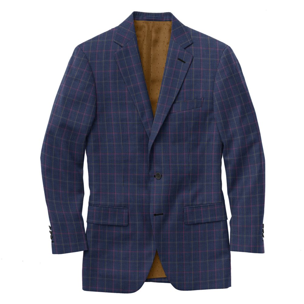 Blue Gold Red Houndstooth Check
