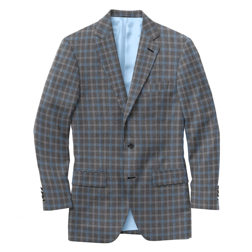 Dove Gray Light Blue Windowpane