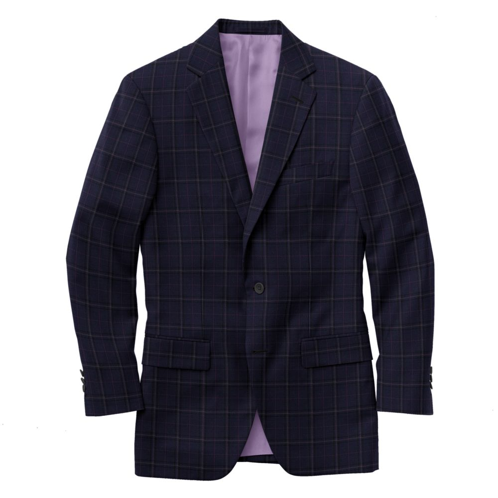 Navy Black Berry Windowpane