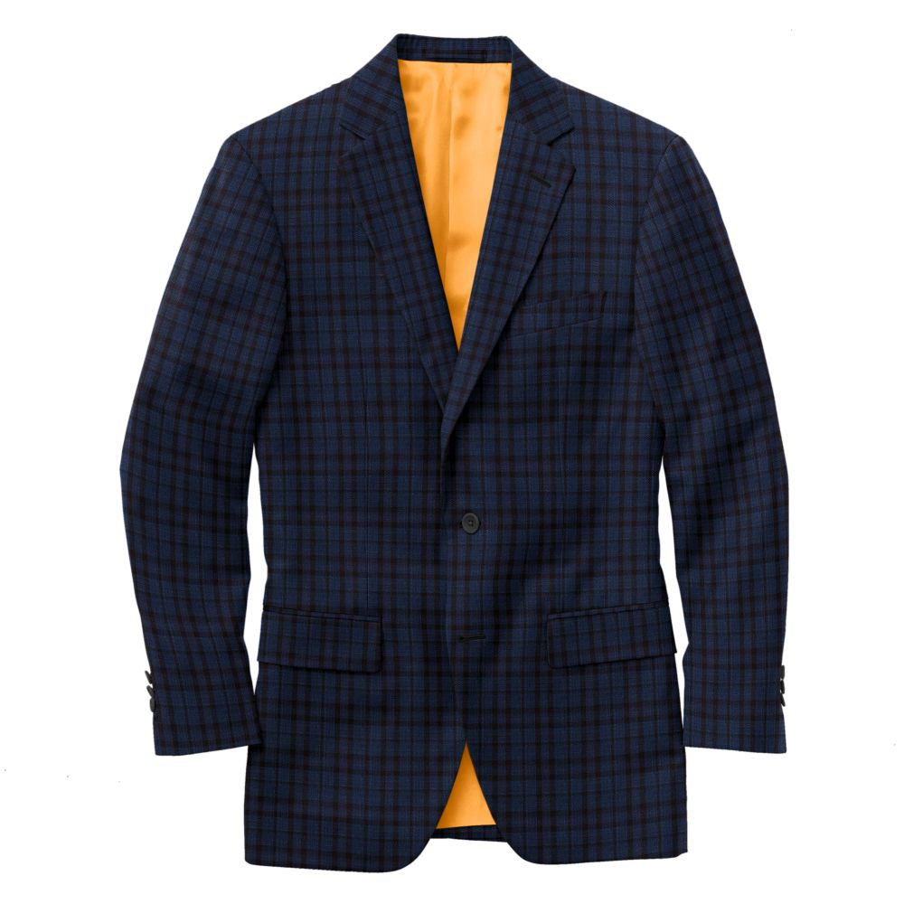 Cobalt Blue Black Windowpane Check