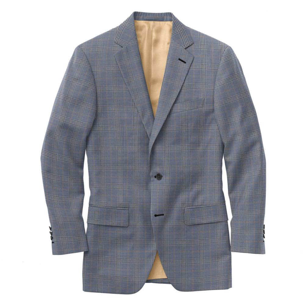 Sky Blue Tan Windowpane Check