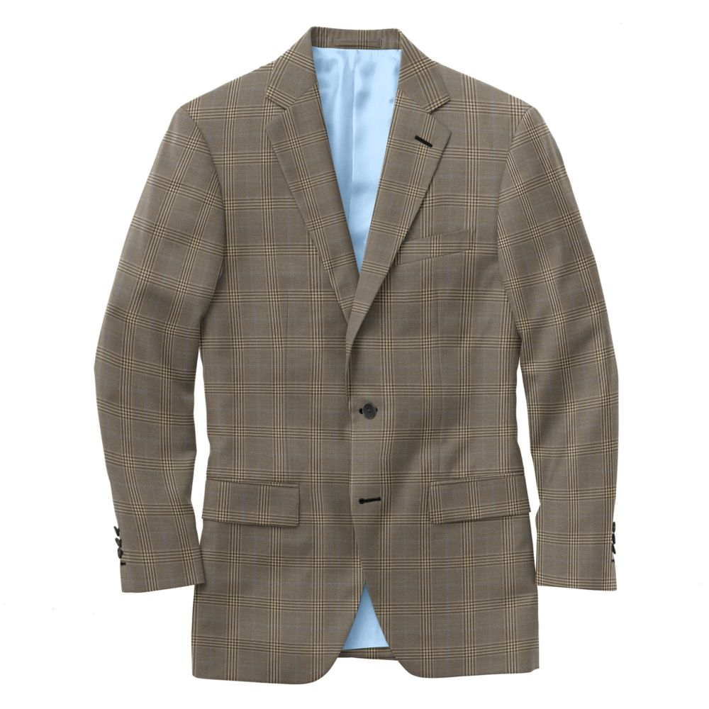 Tan Sky Blue Windowpane Check
