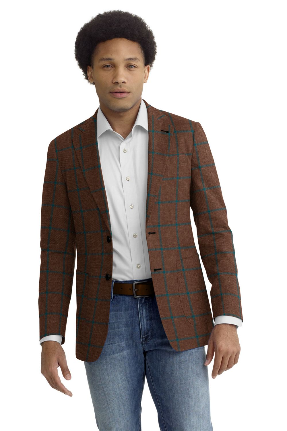 Rust Teal Windowpane