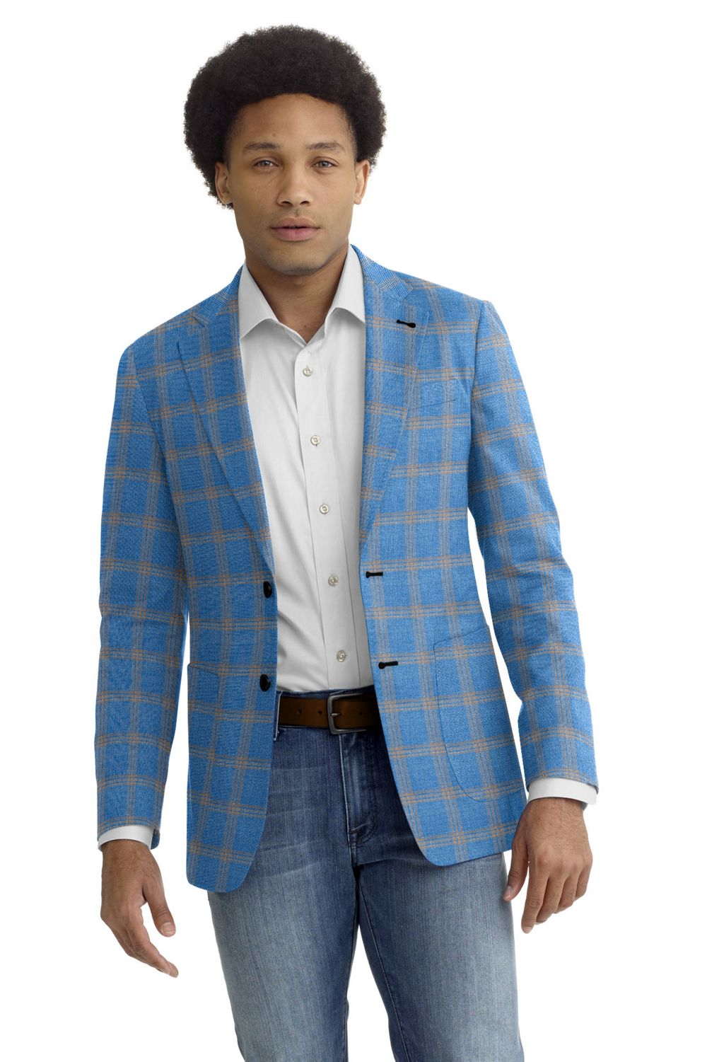 Light Blue Khaki Windowpane