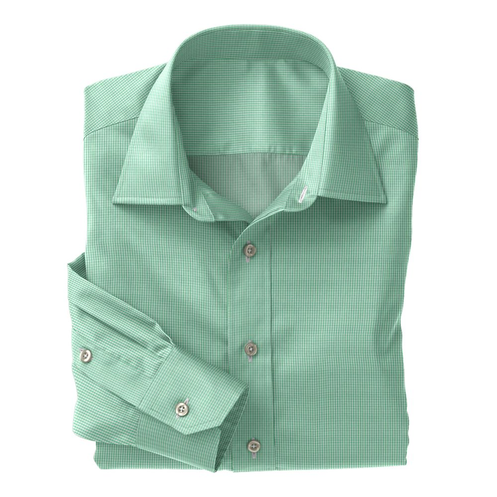 Green Mini Gingham Check 100s