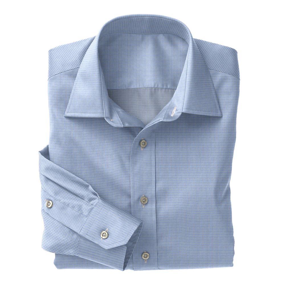 Blue Classic Twill Check 100s