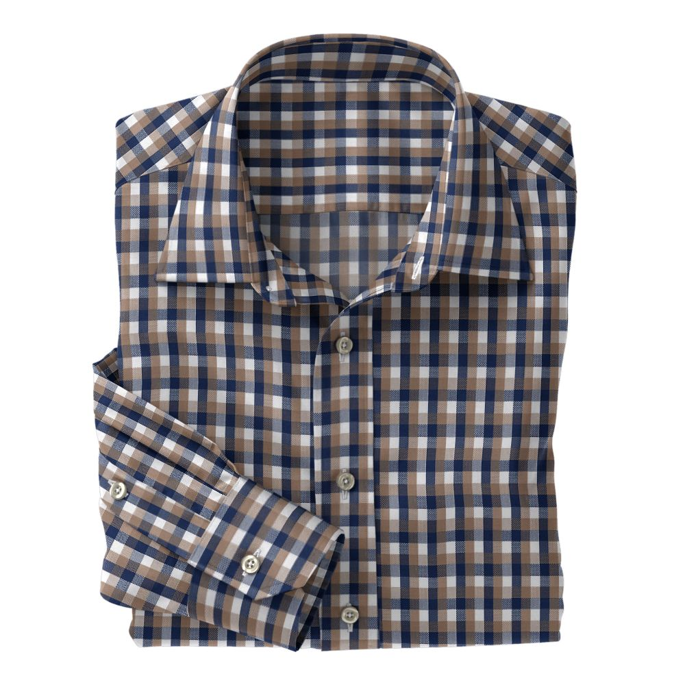 Tan Navy White Check