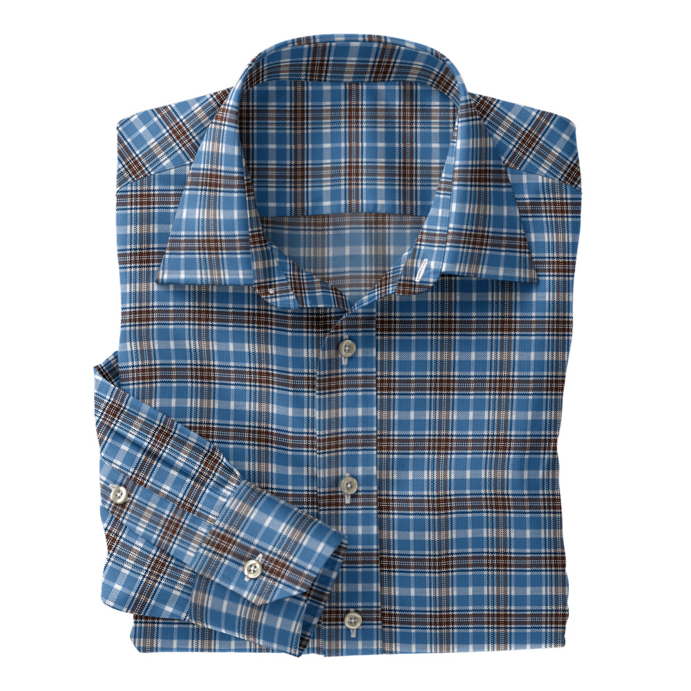 Brown Navy Plaid on Sky Blue