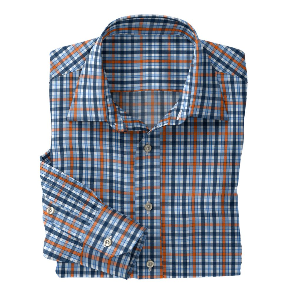 Light Blue Orange Navy Plaid