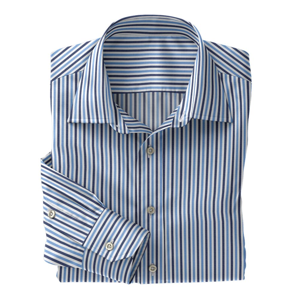Navy and Light Blue Stripe Poplin