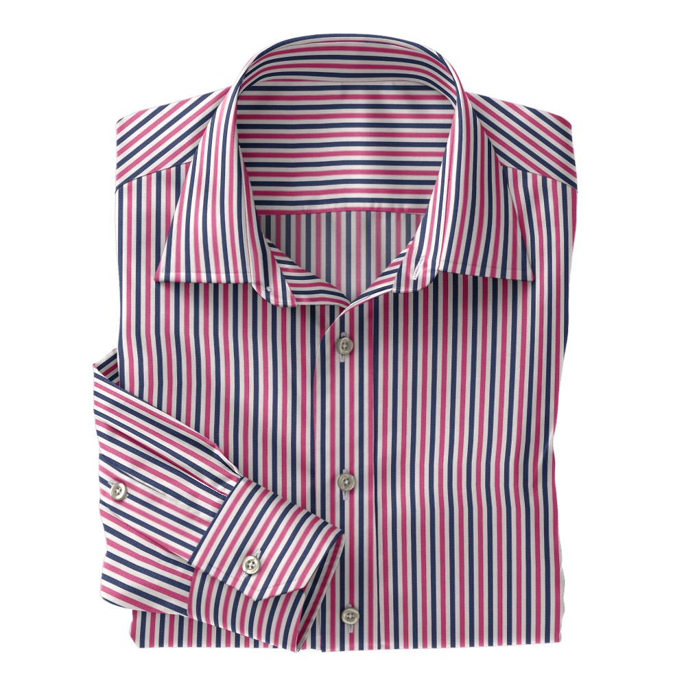 Navy and Pink Stripe Poplin