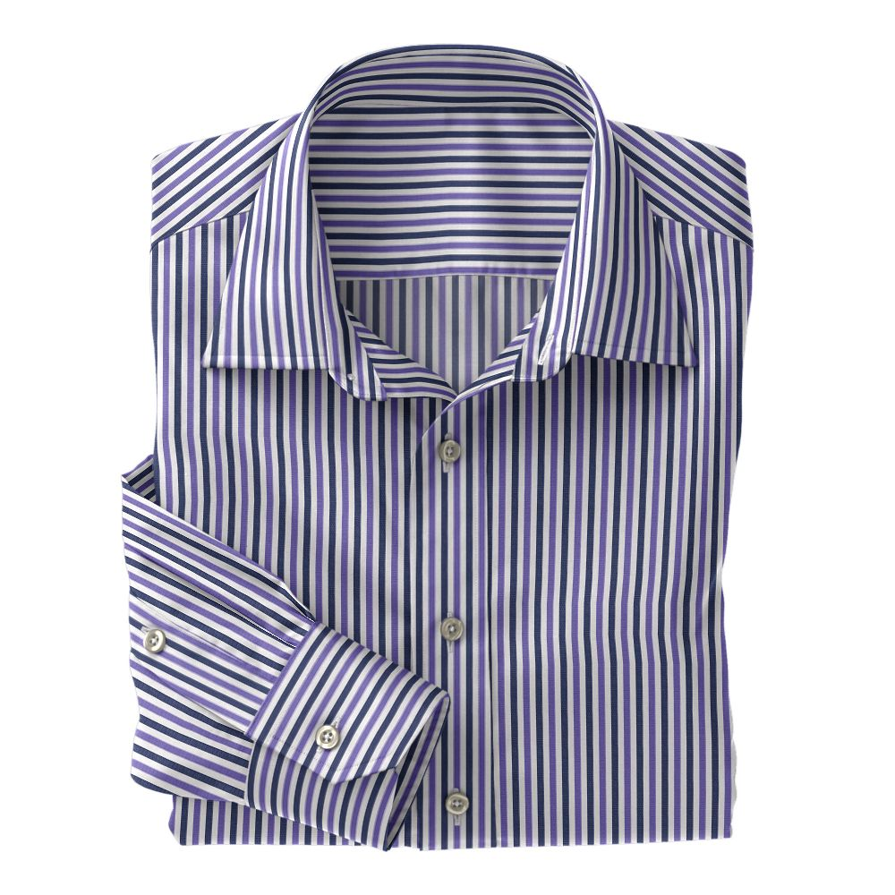 Navy and Purple Stripe Poplin