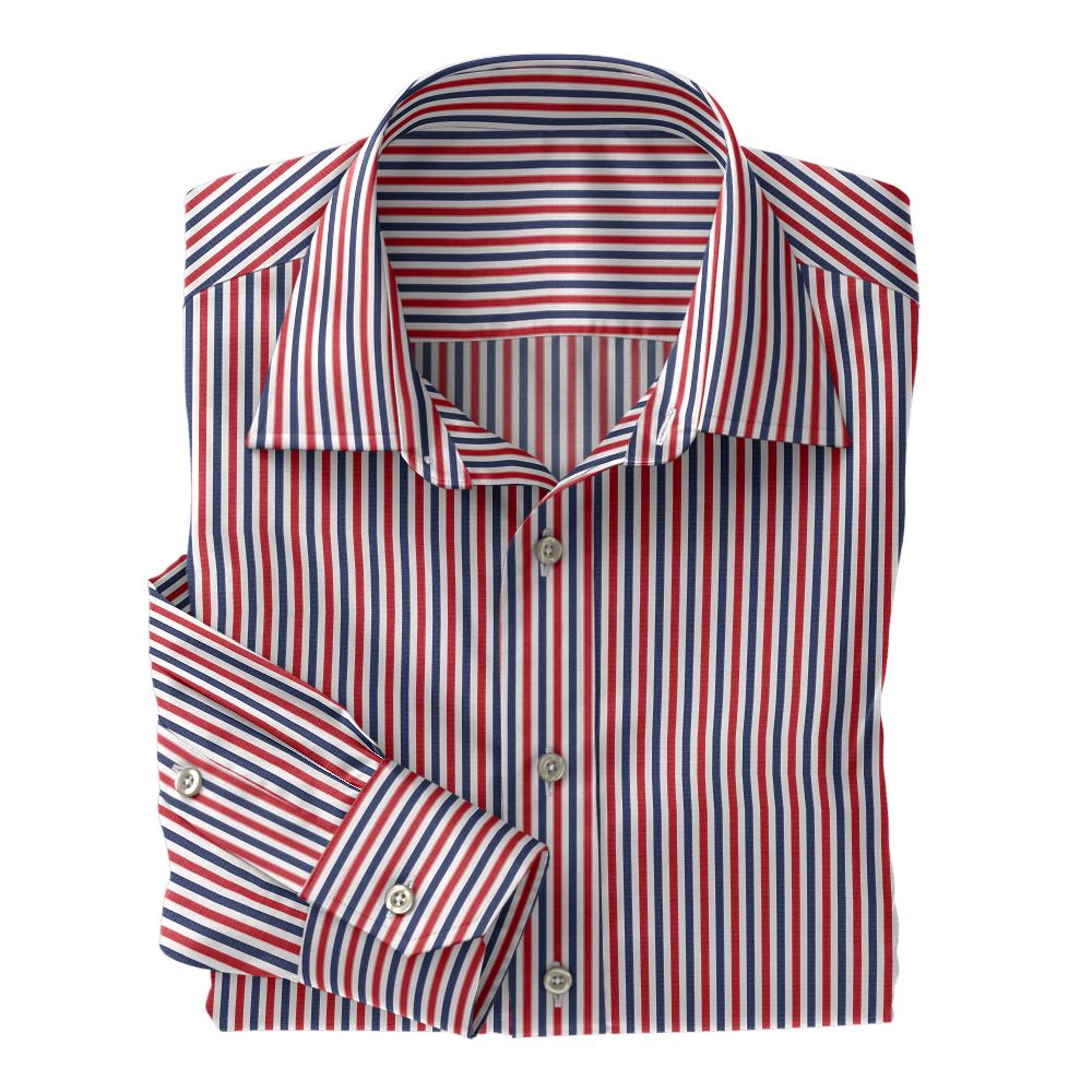 Navy and Red Stripe Poplin
