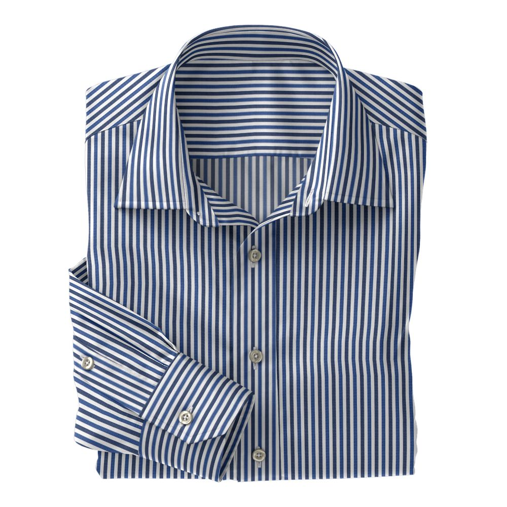 Navy and Blue Stripe Poplin