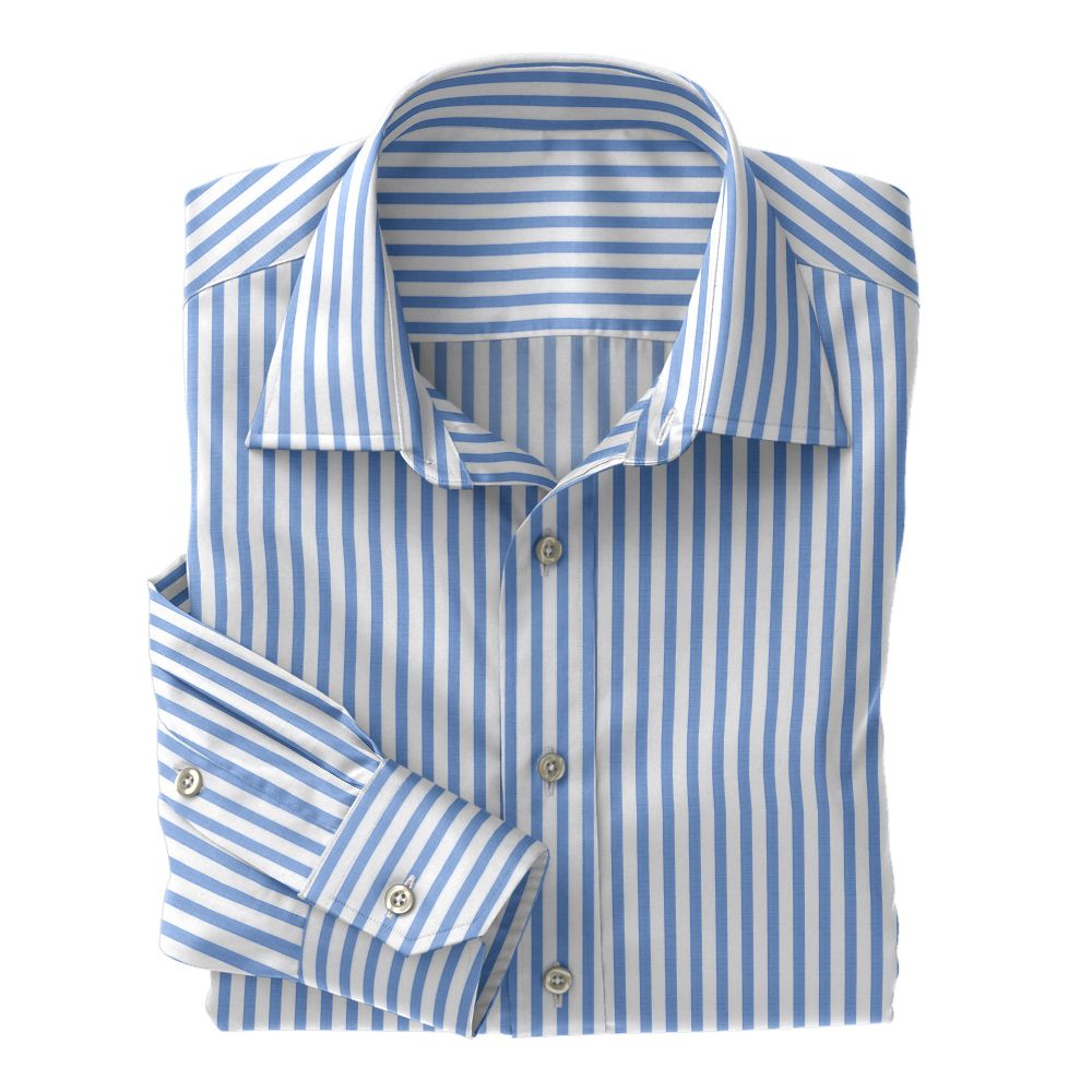 Light Blue Wide Stripe Poplin
