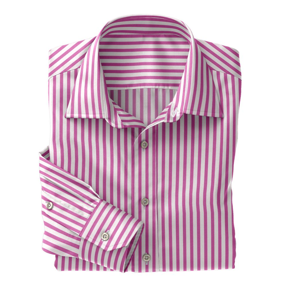 Pink Wide Stripe Poplin