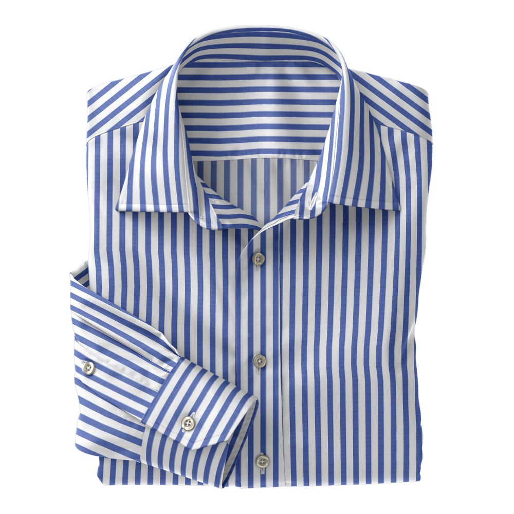 Medium Blue Wide Stripe Poplin