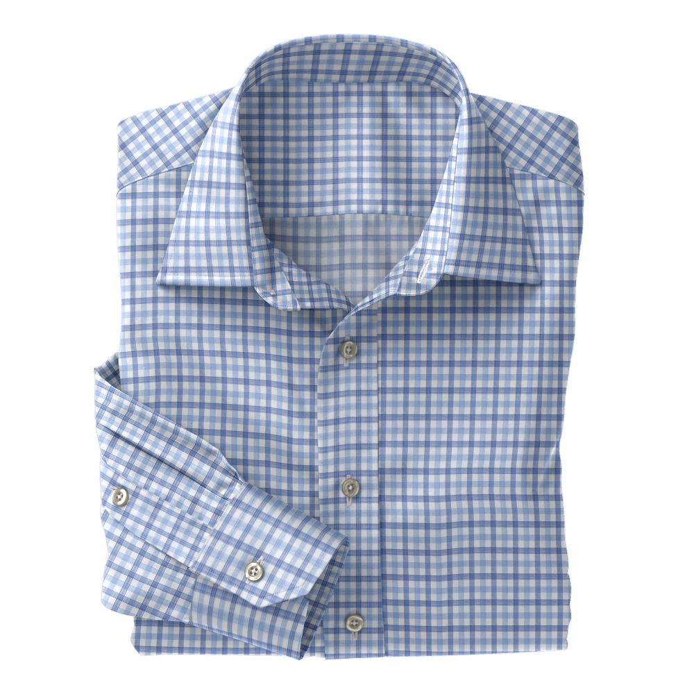 Navy and Light Blue Check Poplin
