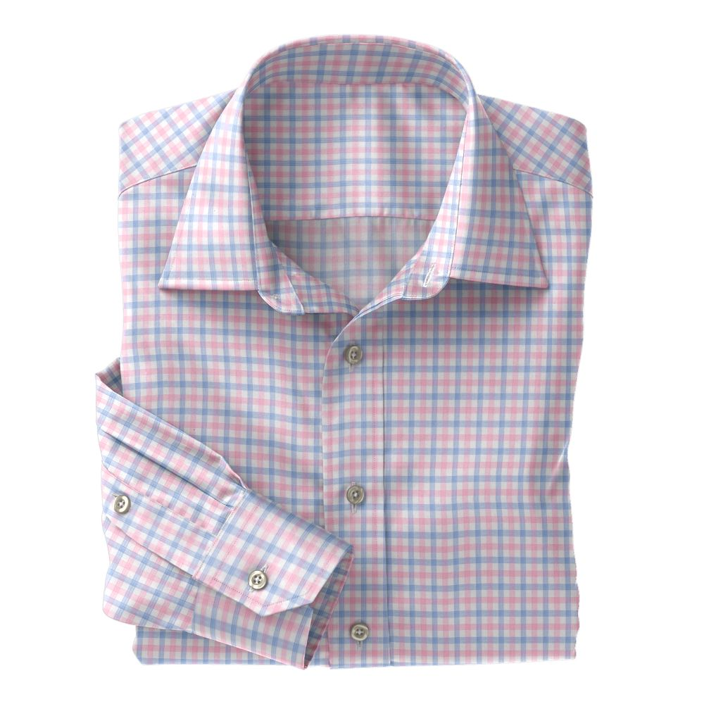 Light Blue and Pink Check Poplin