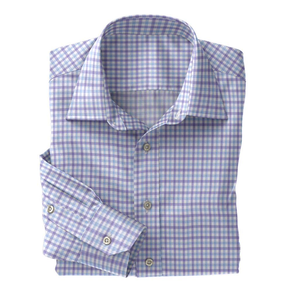 Light Blue and purple Check Poplin